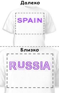 Футболка «Spain» «Russia»